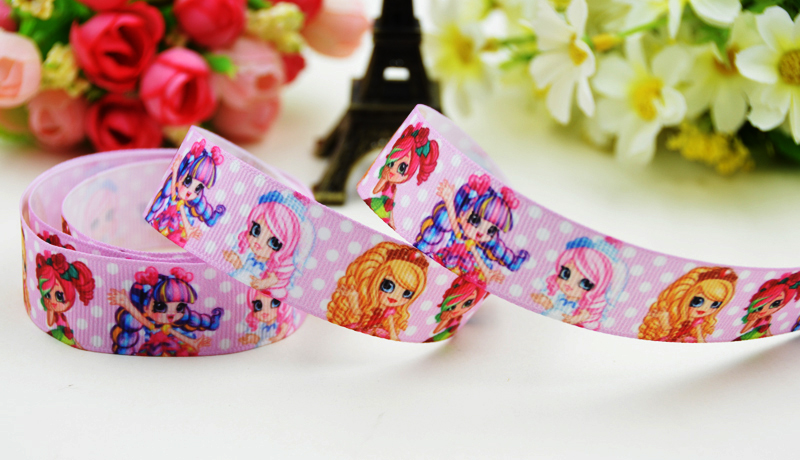 7/8 (22mm) Shopping girl SPK sweet Cartoon Character printed Grosgrain Ribbon party decoration X-01915 OEM 10 Yards