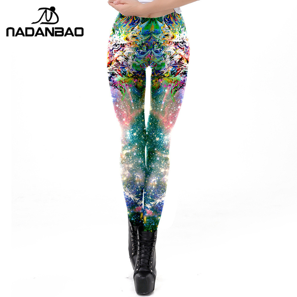 NADANBAO Pink Galaxy Sexy   Leggings   Women 3D Lion Printed Workout   Legging   Fitness Skinny Leggins Elasticity Pants Plus Size