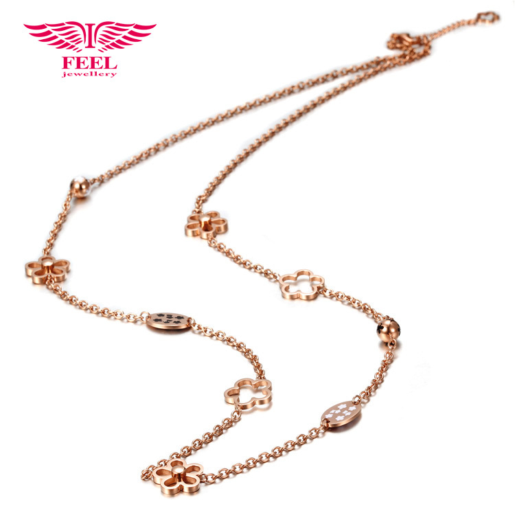Gold Filled Long Flower Sweater Chain Necklace Sta...