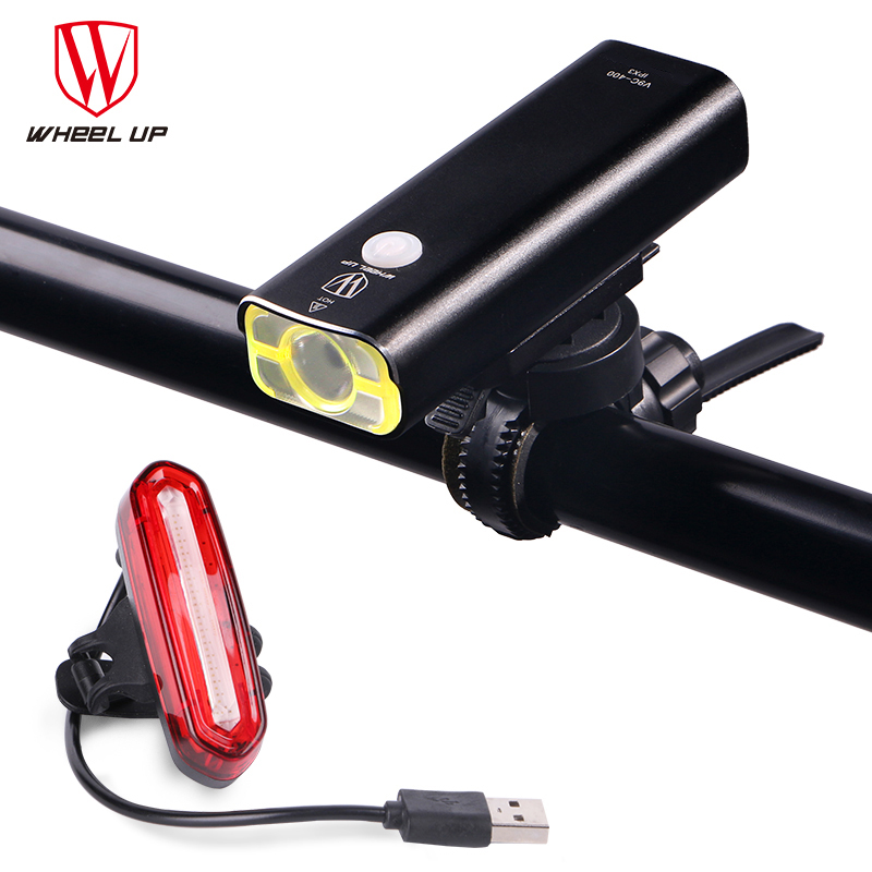 WHEEL UP Cykel Light Cykel Torch Lampe MTB Road Cykellampe Usb Opladelig Led Frontlys TailLight Set Tail Baglygte