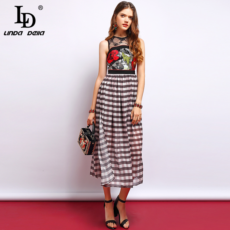 LD LINDA DELLA Fashion Runway Summer Dress Women s Sleeveless Mesh Patchwork Floral Embroidery Plaid Print
