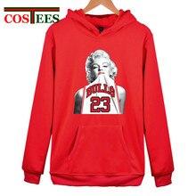 Engraçado Sexo Marilyn Monroe Vestindo Michael 23 Unisex hoodies Chicagos  basket ball mulher Touro grosso casaco 07a55395a