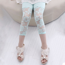 Summer Toddler Kid Baby Girl Flower Ballet Dance Lace Leggings Cropped Pants Kids Clothes 2-7Y