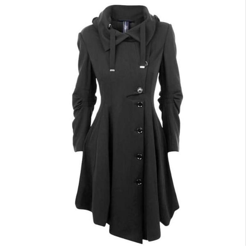 2016 New Asymmetric Black Coat Stand Collar Long Sleeve Women s Overcoat  Elegant Single-breasted Long Sleeve Slim Fall Winter 5b3d59a5a6