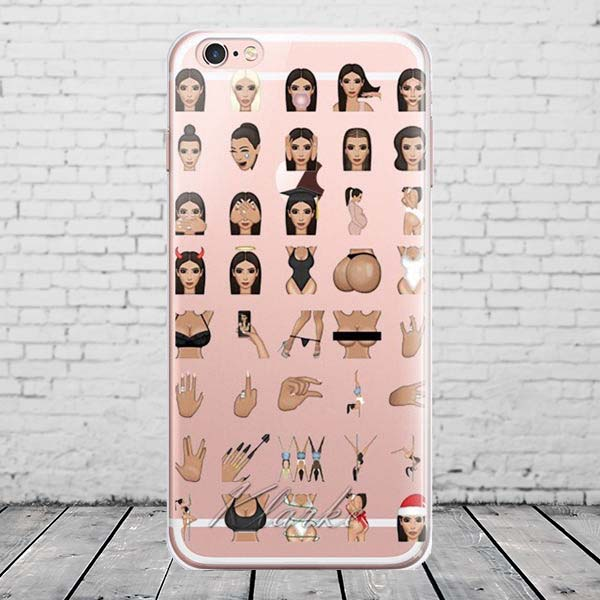 newest collection 58ed9 4e35e US $1.91 10% OFF|Funny Kim Kardashian Crying Face Emoji Case For iPhone 6  Plus 6s Plus Kimoji Clear Soft TPU Cell Phone Cases-in Half-wrapped Case ...