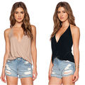 2016 Sexy Women V neck Backless Summer Casual Sleeveless Shirt Backless Loose Vest Tank Top T shirt Wholesale