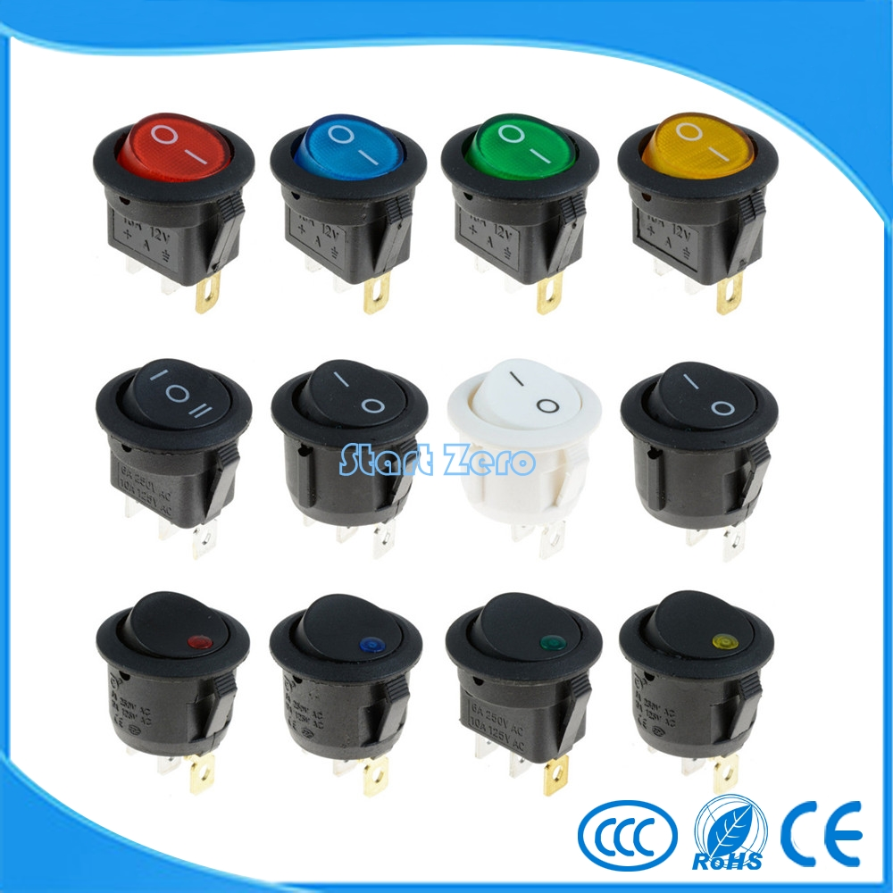 ON/OFF Round Rocker Switch LED illuminated Car Dashboard Dash Boat Van 12V turn on off round rocker switch led illuminated car dashboard dash boat van 12v led home two three dot feet switch 11 syles
