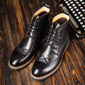British Mens Leather Lace Up Brogue Wingtip Martin Ankle Boots Casual Winter Fur Formal Dress Oxfords