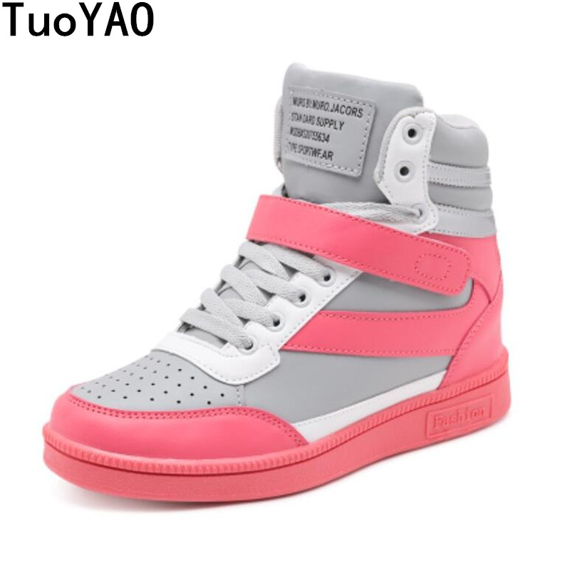 2019 Women Casual Shoes Espadrilles Platform Hidden Increasing Sneakers PU Leather Shoes Woman Breathable High Top White Shoes