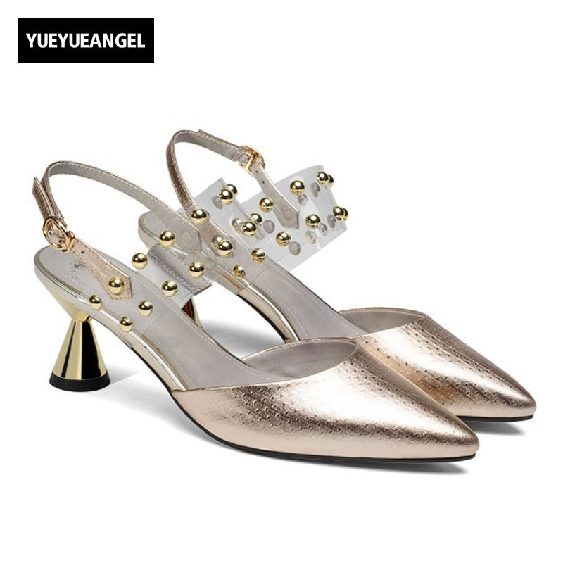 2018 New Genuine Leather Women Sandals Bling Pointed Buckle Strap Heeled Sandals Design Summer Ladies Shoes Pumps Gold Silver bronze silver gold buckles shoes slippers sandals shoes strap laces clothing bag 8mm belts buckle clip 500pcs lot free shipping