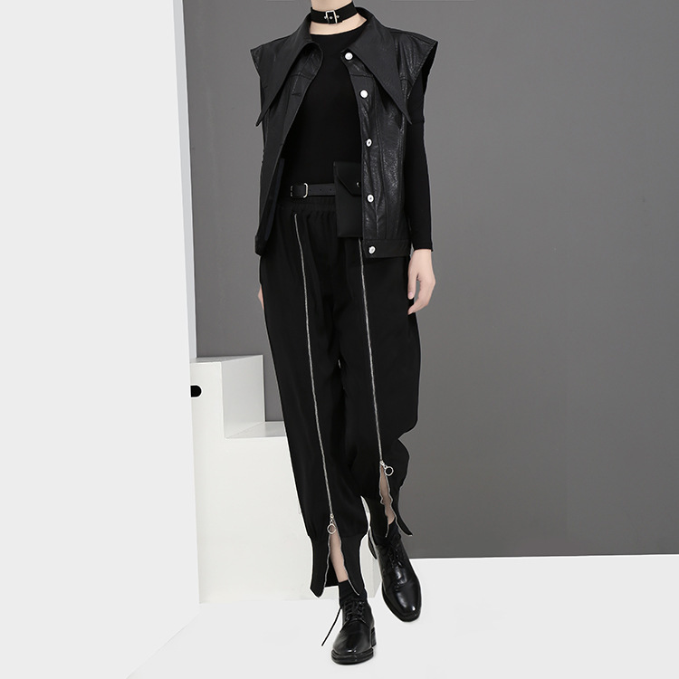 [EAM] 2018 new spring Zipper Decoration high waist solid color black green loose pants women trousers fashion all-match JC58801 14