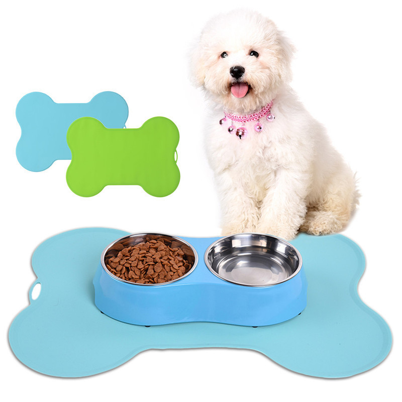 1Pcs Bone shaped Pet Feeding Mat Silicone Non slip Pet Dog ...