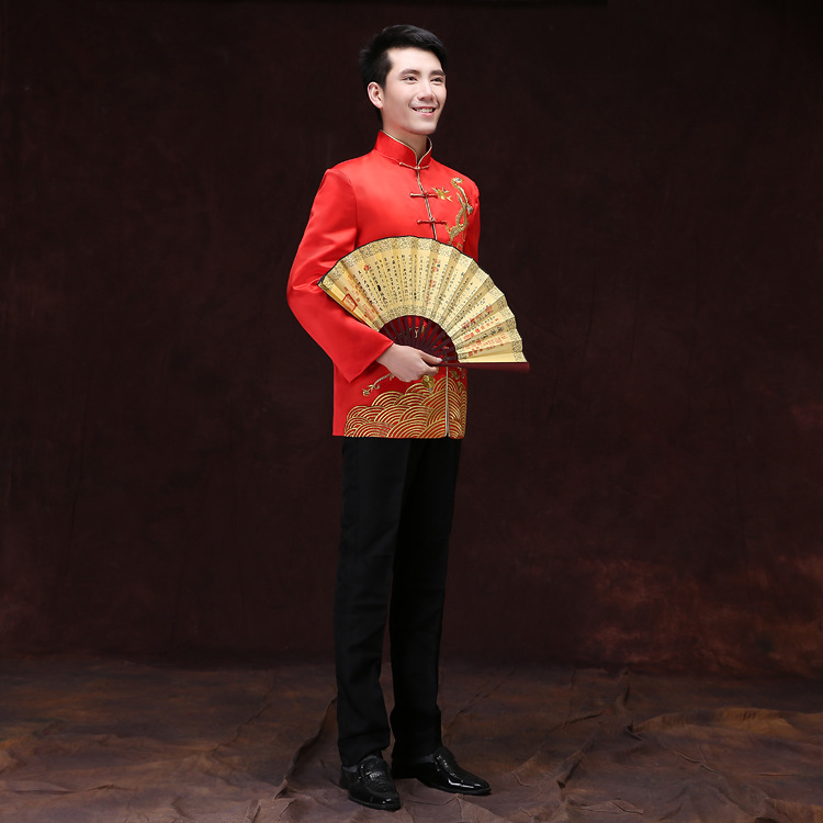 Manches longues Dragon homme Tang Costume chinois tunique Costume mâle rouge mariage manteau chinois traditionnel Costume marié haut 89