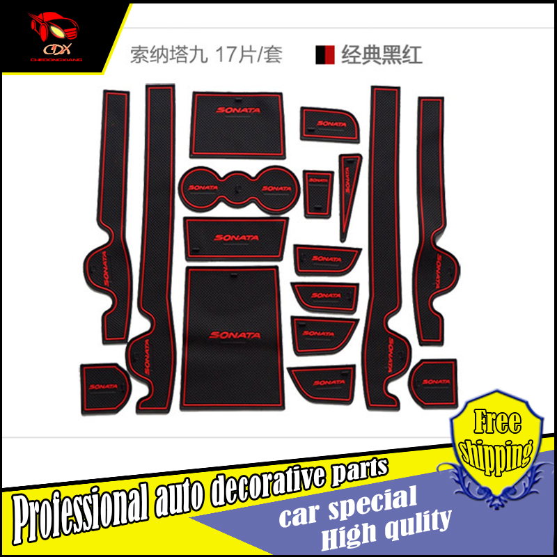 Car-Styling Slot Pad Interior Door Groove Mat Latex Anti-Slip Cushion For Hyundai Sonata 9 Car door mat covers Dedicated