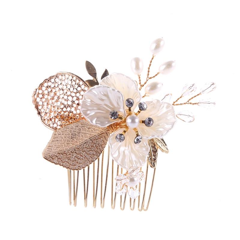 Gorgeous Gold Clear Crystal Rhinestones Pearls Flower Wedding Hair Comb Bridal Headpieces Hair Accessories Bridesmaids Women