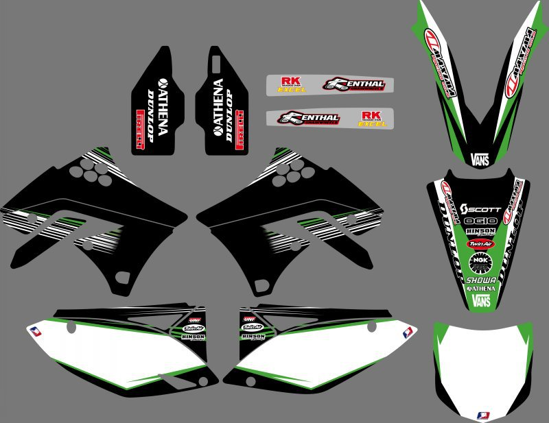 New Style TEAM Graphics Decals Stickers For Kawasaki KX250F KXF250 2009 2010 2011 2012 KX 250F KXF 250 0251 new style team decals stickers graphics kits for sx50 50cc 50 50sx for ktm 50 2009 2010 2011 2012 2013