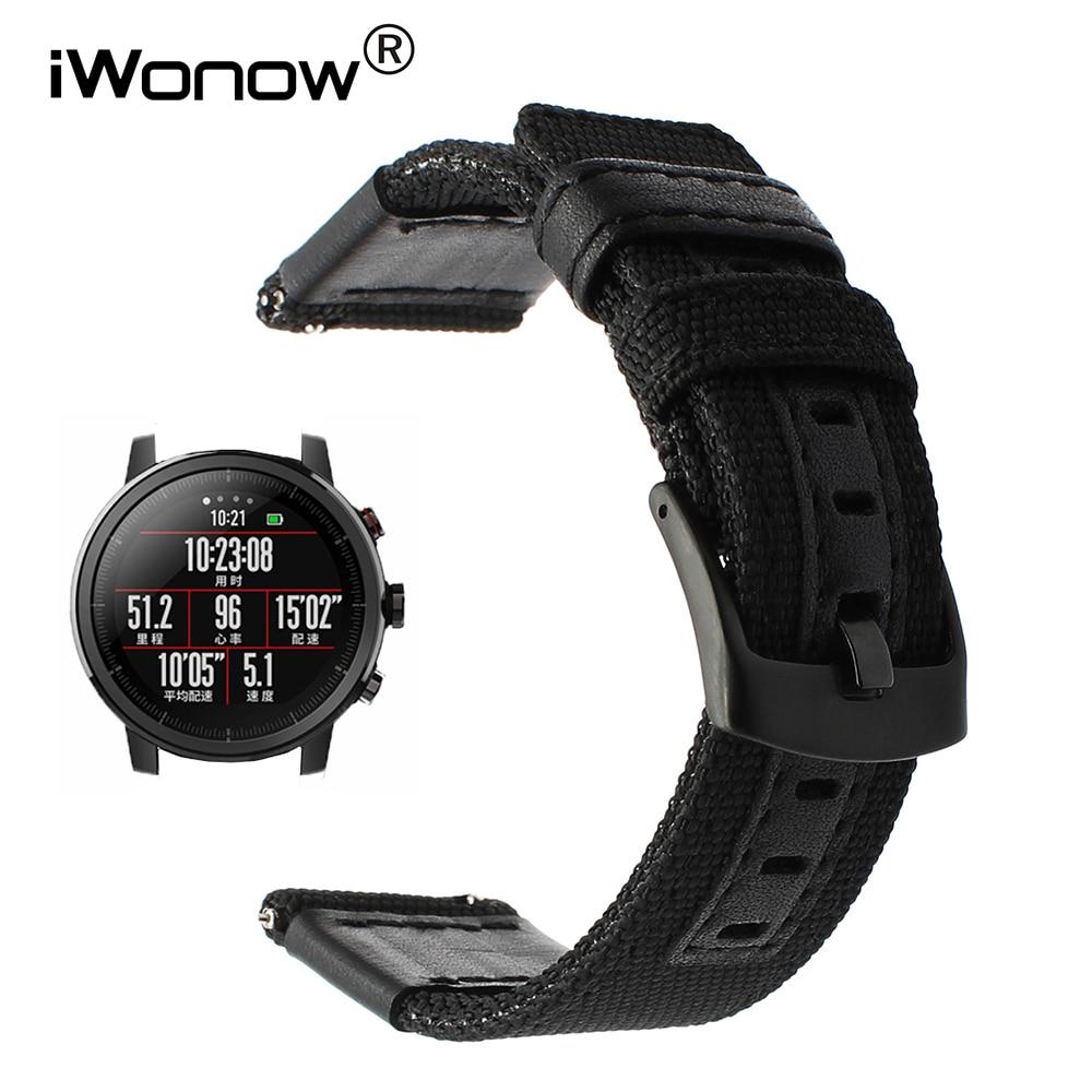 Genuine Nylon & Leather Watchband Quick Release for Xiaomi Huami Amazfit Straptos 2 / 2S Smart Watch Band Wrist Strap Bracelet