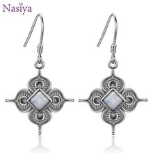 New Design Flower Square Natural White Moonstone Drop Earrings For Women 925 Sterling Silver Geometric Jewelry natural blue moonstone 925 sterling silver drop earrings for women girl 4x6mm oval cut anise star fashion and simple jewelry