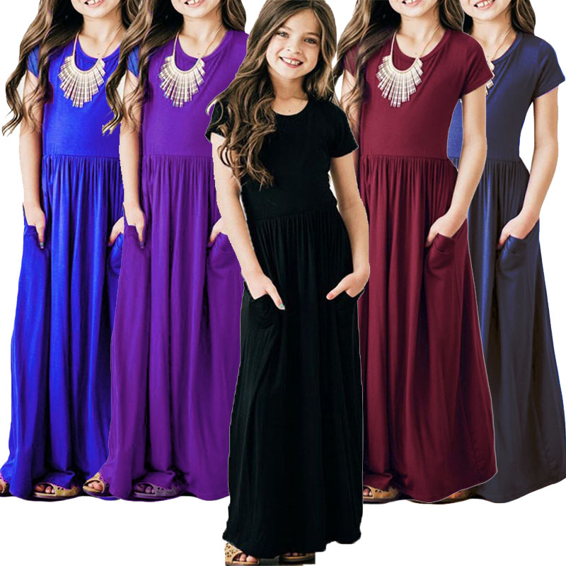 2019 Summer Girls Long Bohemian Dress Children's Beach Maxi Dress Baby Girl Birthday Party Princess Dress 2-10 yrs Kids Clothes