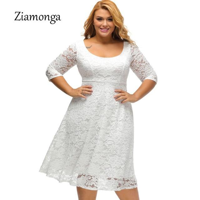 d260ee73ab US $22.59 28% OFF|Ziamonga XL XXL XXXL Plus Size Vestidos Black White Midi  Lace Dress Short Sleeve Causal A Line Party Dresses Elegant Women Dress-in  ...