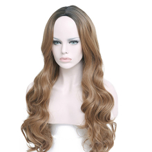JINKAILI Long Ombre Brown Synthetic Wavy Middle Part Wig For Black/White Women Glueless Cosplay Halloween Hair  Heat Resisitant long middle part wavy colormix synthetic wig