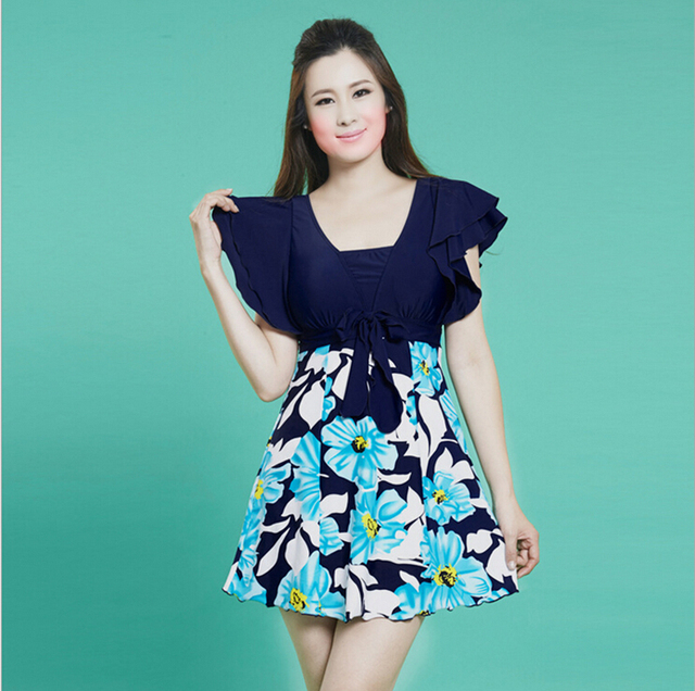 448c5db858 Extra Large Plus Size Swim Suit Dress with Short Hot Spring Swimwear for Women  One Piece