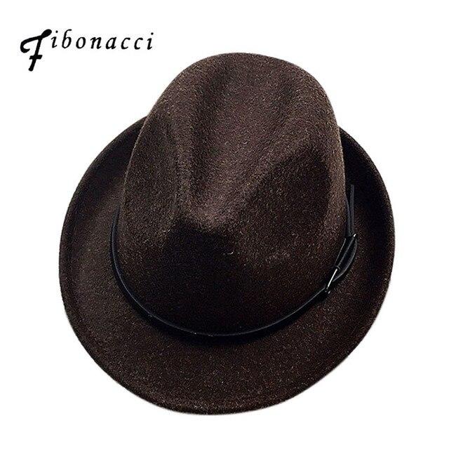 Fibonacci 2017 New Fedoras Fashion Wool Felt Solid Color Jazz Small Hat Men Womens Popular Vintage Fedora