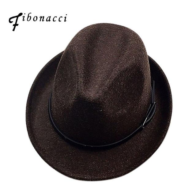 Fibonacci 2017新しいfedorasファッションウールフェルト無地ジャズ小さな帽子男性女性の人気ヴィンテージfedora