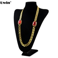Gold Plated Cuban Link Radiant Red Ruby Octagon Pendant Bling Chain Link Mens Necklace Ruby