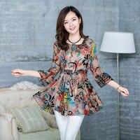 새로운 2017 봄 여름 여성 쉬폰 기본 블라우스 인쇄 레이싱 한국 패션 셔츠