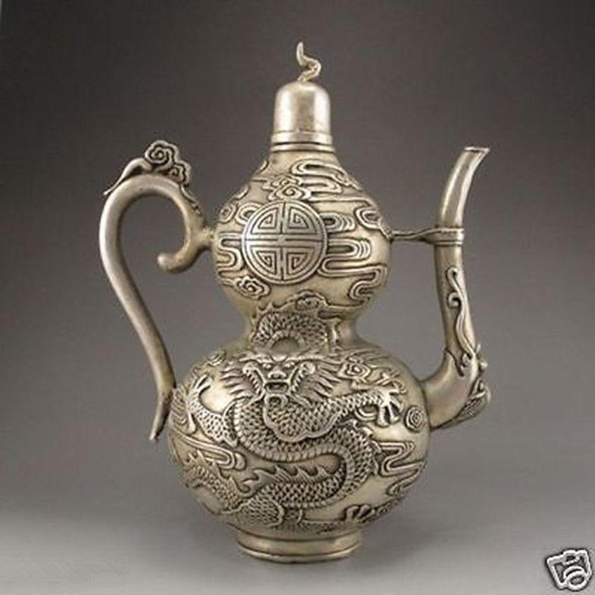 Détails sur le vieux Dragon de théière en Bronze argenté tibétain fait main chinois archaize