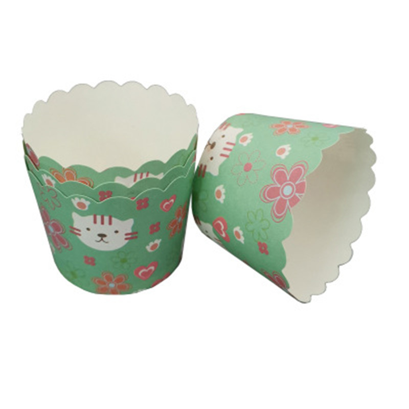50Pcs Flower <font><b>Cat</b></font> Muffin Cupcake Paper <font><b>Cups</b></font> Oilproof Cupcake Wrapper Liner Baking <font><b>Cup</b></font> Case Wedding Party Caissettes Cupcake Paper image