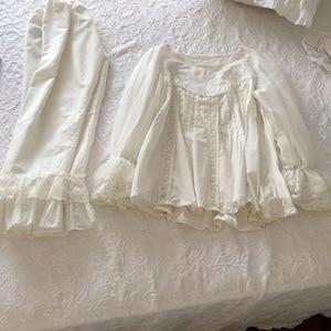 Image 5 - Soft Cotton Hand made Embroidery Womens Pajamas Sets Autumn Vintage Sweet Female White Pyjamas Long Sleeve Sleepwear  2228