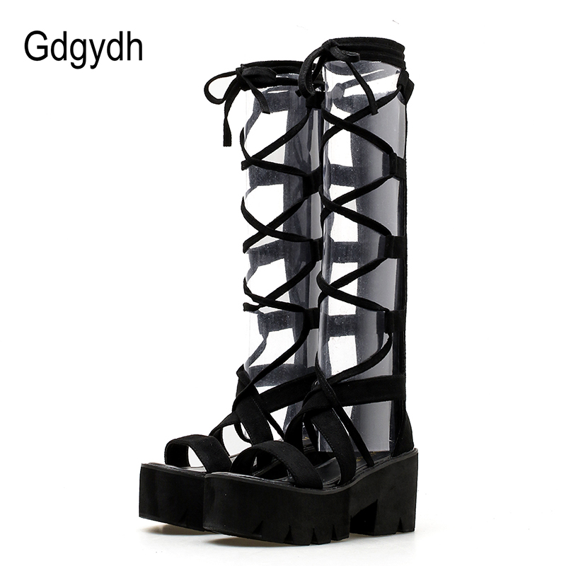 Gdgydh 2019 Fashion Suede Mid Calf Women Boots Lacing High Heels Platform Shoes Open Toe Female Summer Booties Shoes PromotionGdgydh 2019 Fashion Suede Mid Calf Women Boots Lacing High Heels Platform Shoes Open Toe Female Summer Booties Shoes Promotion