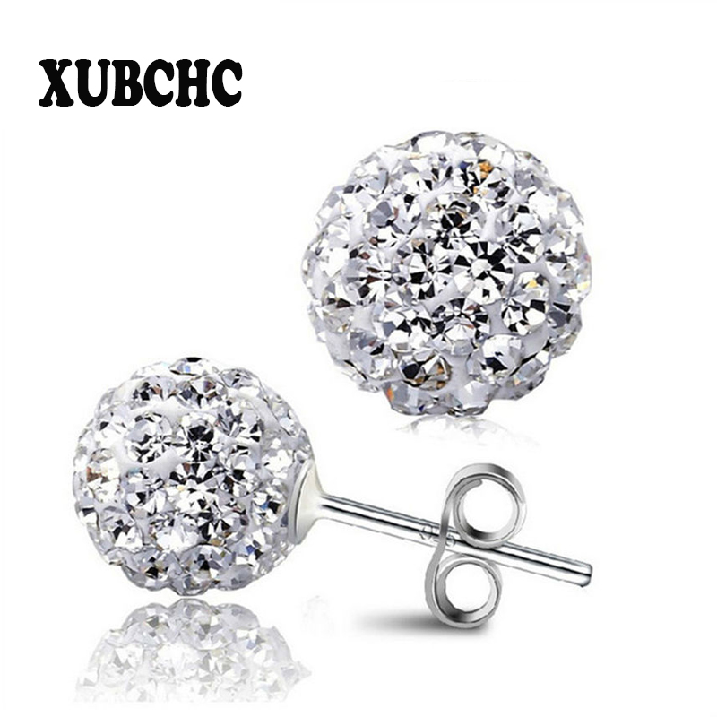 Free Shipping 4 Size 12MM 10MM 8MM 6MM Trendy Brand Earrings Top Quality Ball Crystal Stud Earring For Women Fashion Jewelry