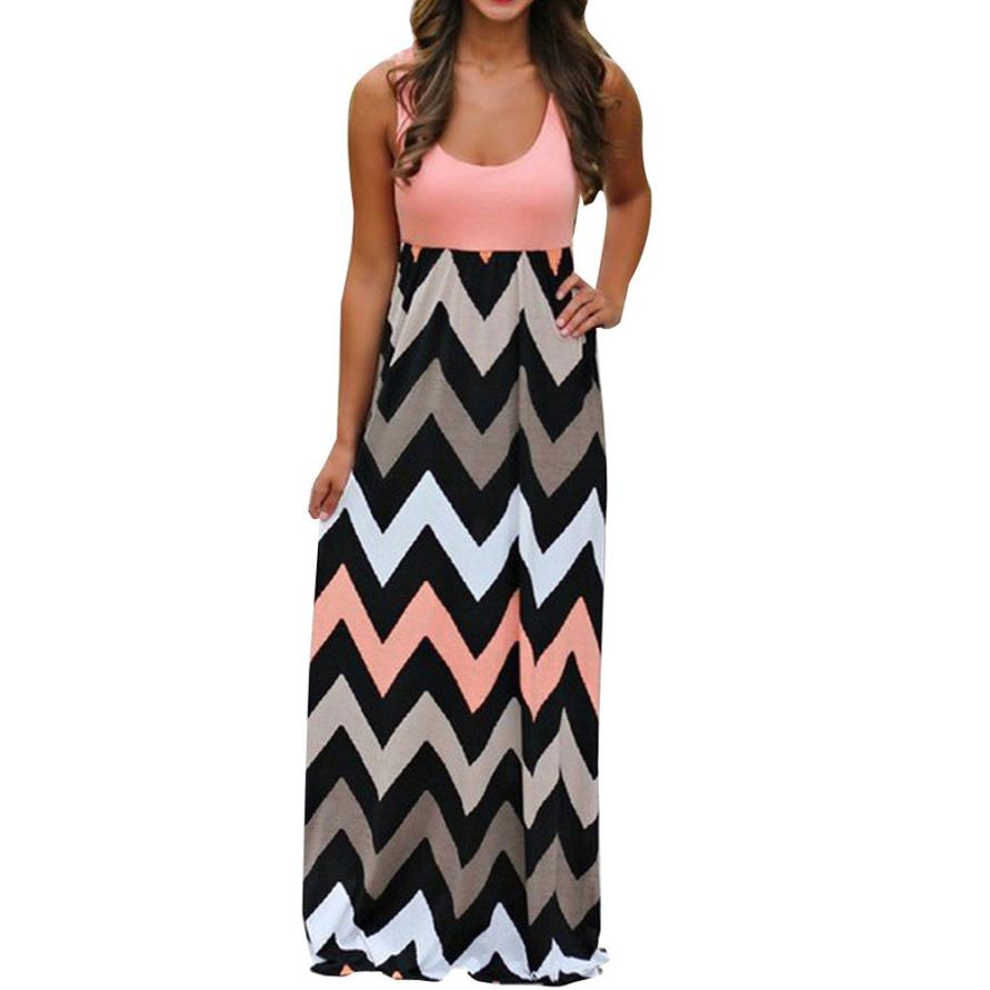 Plus Size Women Summer Beach Boho Maxi Dress 2018 High Quality Brand Striped Print Long Dresses Feminine sarafan female summer