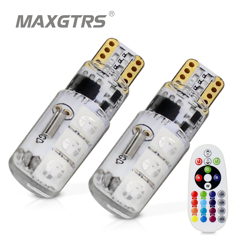 T10 194 168 w5w 5050 smd rgb carro leitura cunha lâmpada de luz 6 led 16 cores led flash/strobe lâmpada com controle remoto
