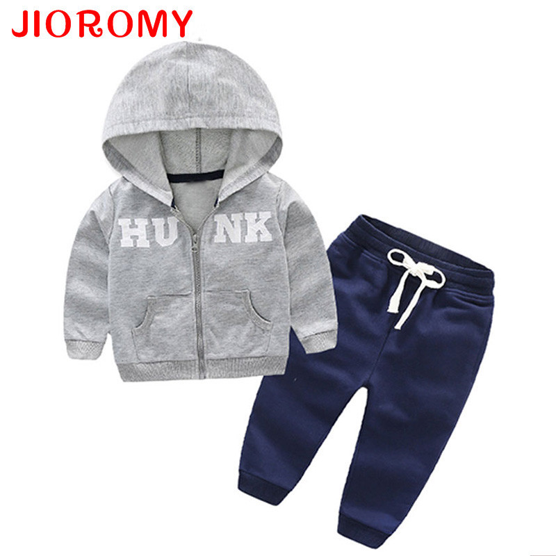 JIOROMY Baby Boys Clothing Suits 2017 Autumn Letter Printing Hooded Zipper Cotton Caot + Casual Pants Sports Kids Clothes Sets