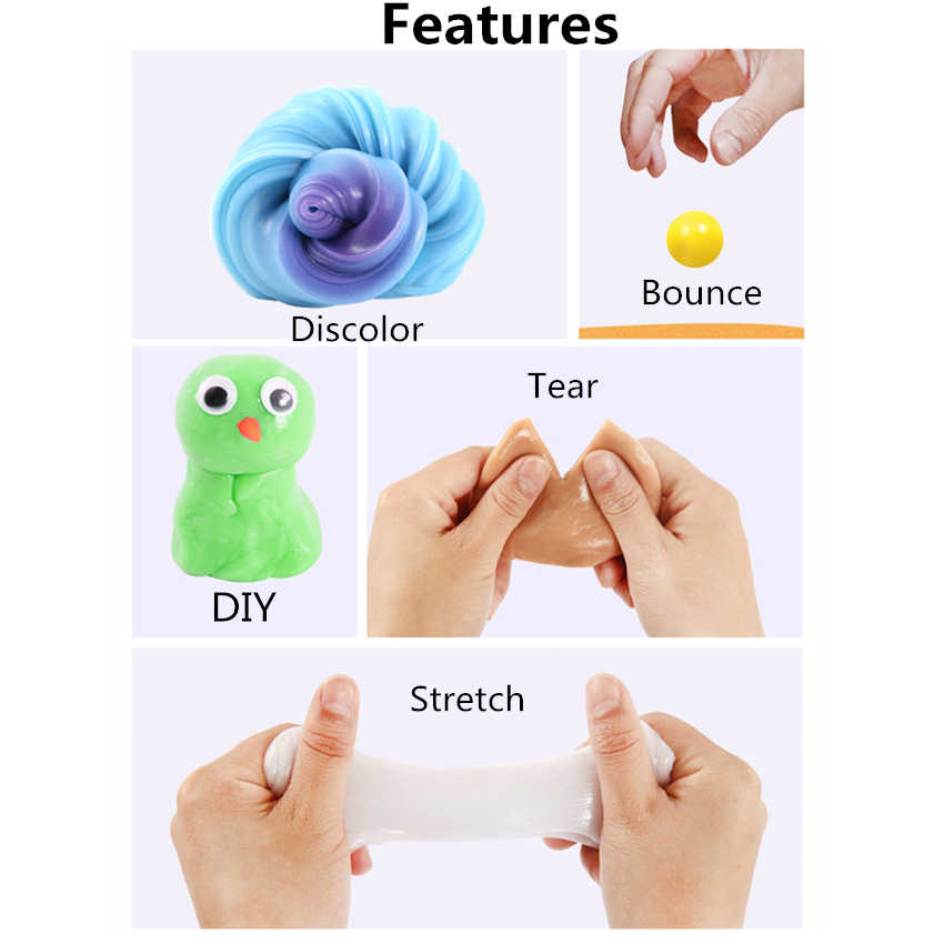 DIY UV Intelligent Creative Discolor Slime Hand Gum Putty Bounce Clay Supplies Adults Decompression Fimo Toys Kids Gift 5 Colors