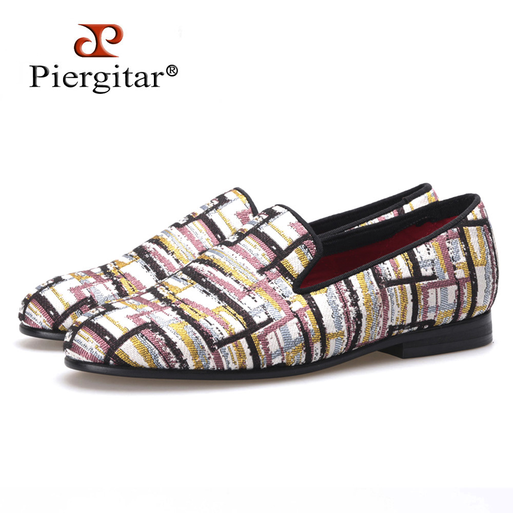PIERGITAR new Woman fabric shoes gingham check jacquard cloth woman flats woman loafers dress shoes free shipping replay ns251 6 5x16 5x114 3 d66 1 et50 s