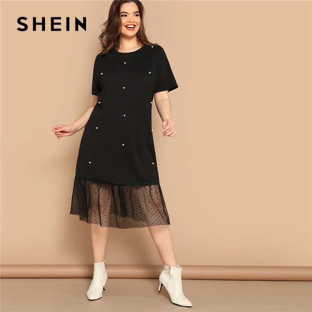 SHEIN Plus Size Casual Black Pearl Beading Partchwork Sheer Dot Mesh Hem Women Straight Dresses 2019 Summer Short Sleeve H Dress