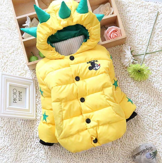 On Sale 2016 Winter Baby boys snow wearFree shipping  infant girls snowsuit dinosaur hat thickening baby down coat A341
