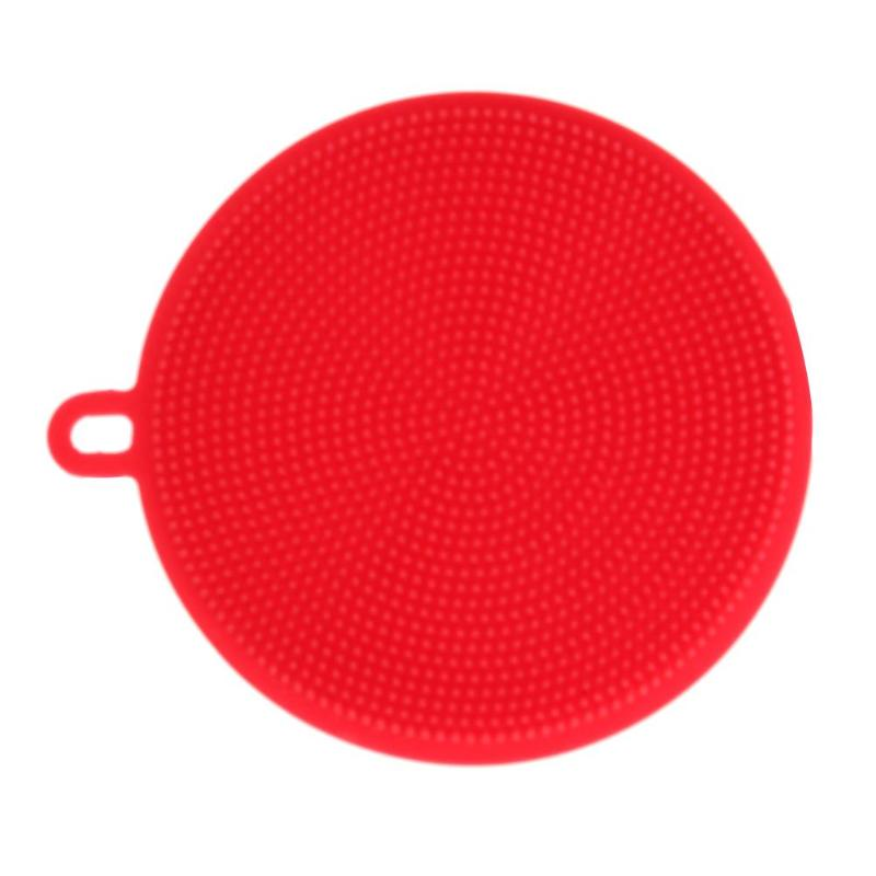 Silicone Dish Bowl Cleaning Brush Kitchen Scouring Pad Cleaner Brushes Multi-functional Pot Pan Wash Brushes Red 11.5x11.5cm