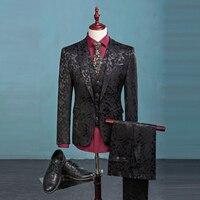 (Chaqueta + Pants + Vest) Traje de Los Hombres de Moda Los Patrones de Brillo de Lujo Casual Hombres Escenifican Ropa Vintage Para Hombre trajes de Boda Del Novio M-3XL