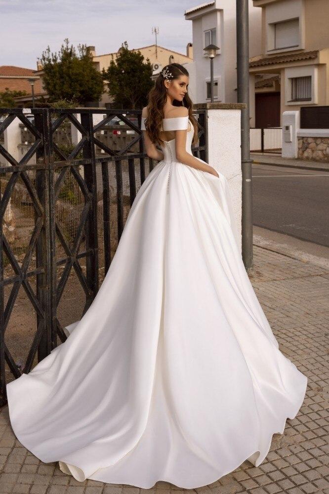 Image 2 - Vivian's Bridal Vintage Court Train Satin Wedding Dress Sexy Criss cross Off Shoulder Back Zipper Hollow Out Pocket Bridal Dress-in Wedding Dresses from Weddings & Events