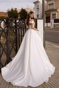 Image 2 - Vivians Bridal Vintage Court Train Satin Wedding Dress Sexy Criss cross Off Shoulder Back Zipper Hollow Out Pocket Bridal Dress