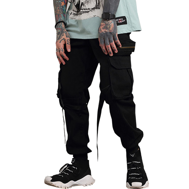 drop shipping men camouflage pants multi pockets with rope fashion cargo trousers Military Sweatpants M-XXL NXP35