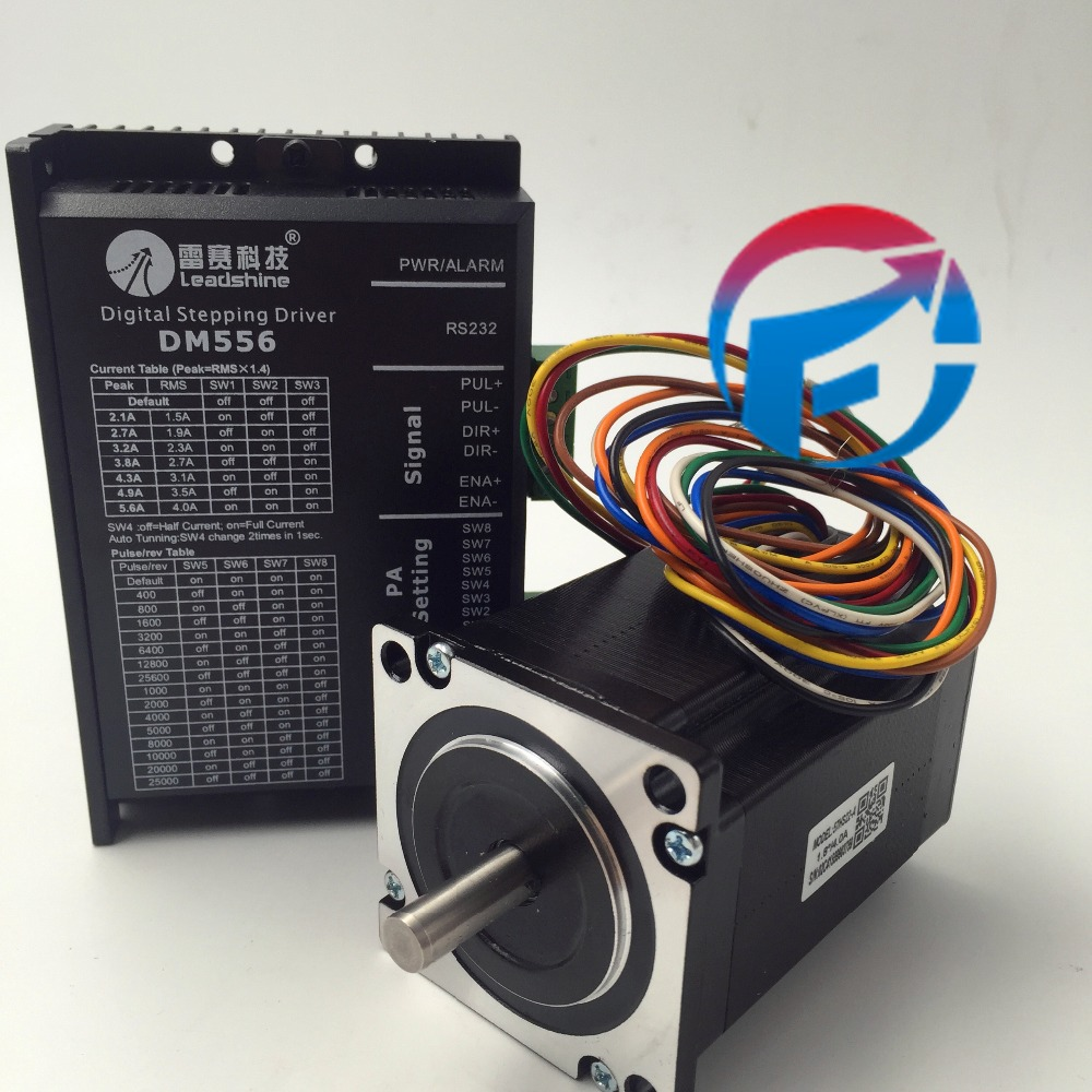 Leadshine Stepper Motor Drive 2ph 4A 2.2NM NEMA23 57mm Single shaft 18~50VDC For CNC Engraving Machine 57HS22-A+DM556 leadshine stepper motor drive 2ph 4a 2 2nm nema23 57mm single shaft 18 50vdc for cnc engraving machine 57hs22 a dm556