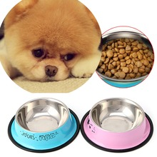 New Arrival Pet Product For Dog Cat Bowl Stainless Steel Anti-skid Pet Dog Cat Food Water Bowl Pet Feeding Bowls Tool 2 Colors