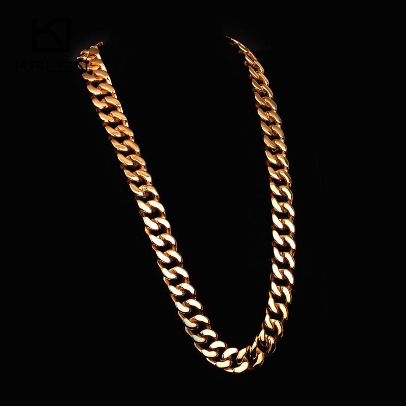 Kalen 70cm Lange Cubaanse Collier Rvs Dubai Goud Kleur 440g Zware Chunky Ketting Mannen's Accessoires - 5